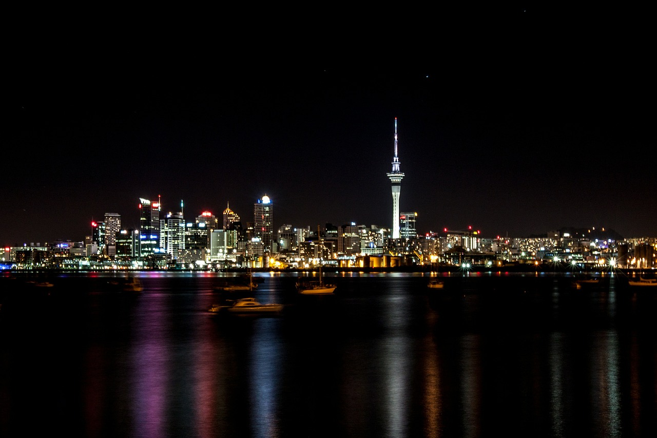 Night, Auckland, New Zealand, City