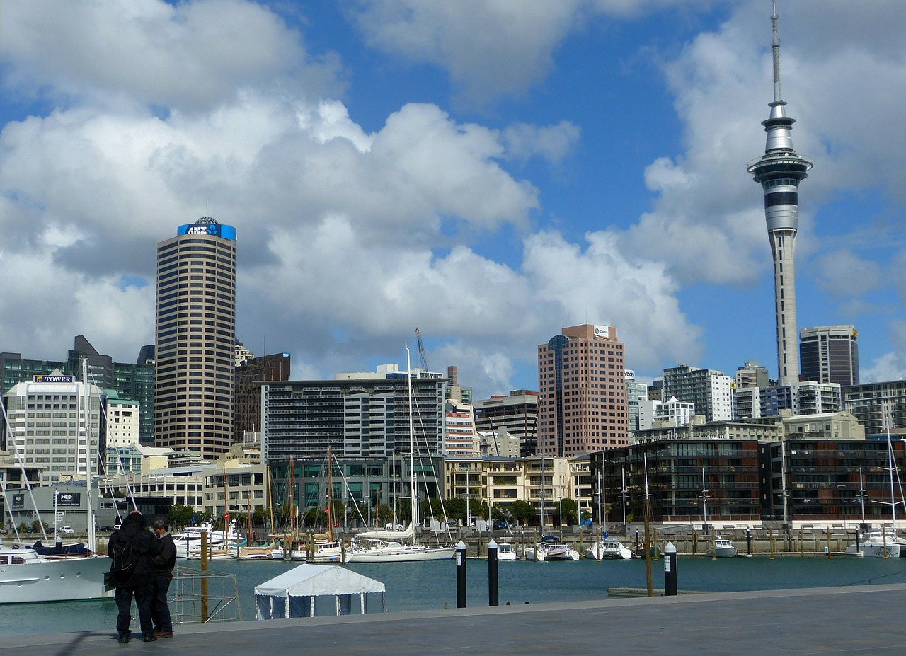 Sky Tower, Auckland, Boat, New Zealand, Architecture