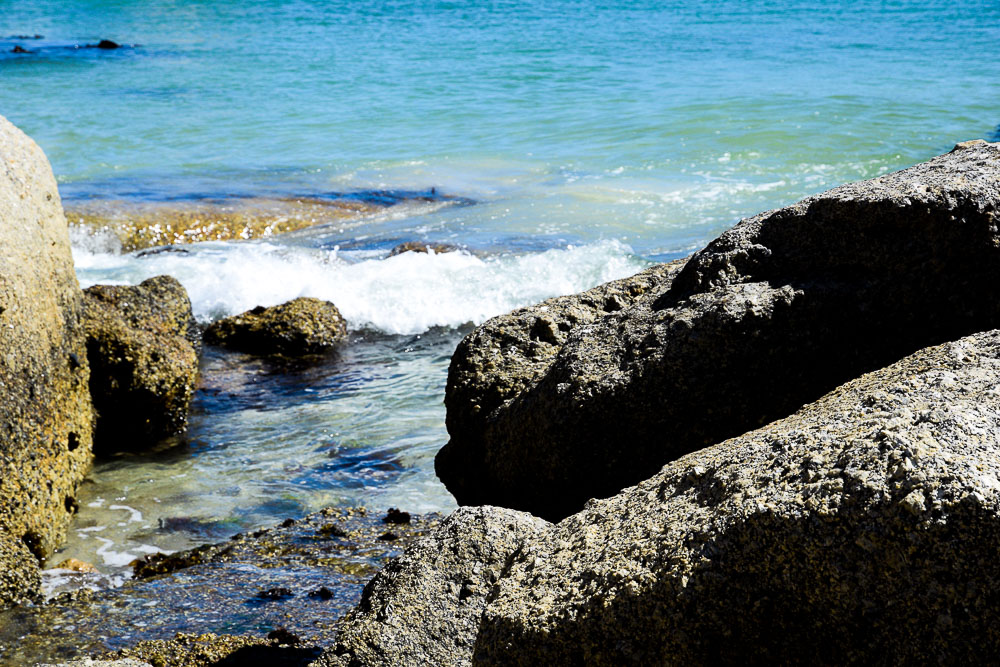 up close of the waves at boulders beach