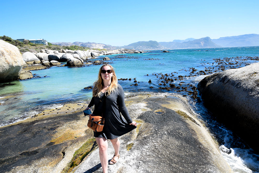 woman standing at boulders beach simon's town south africa