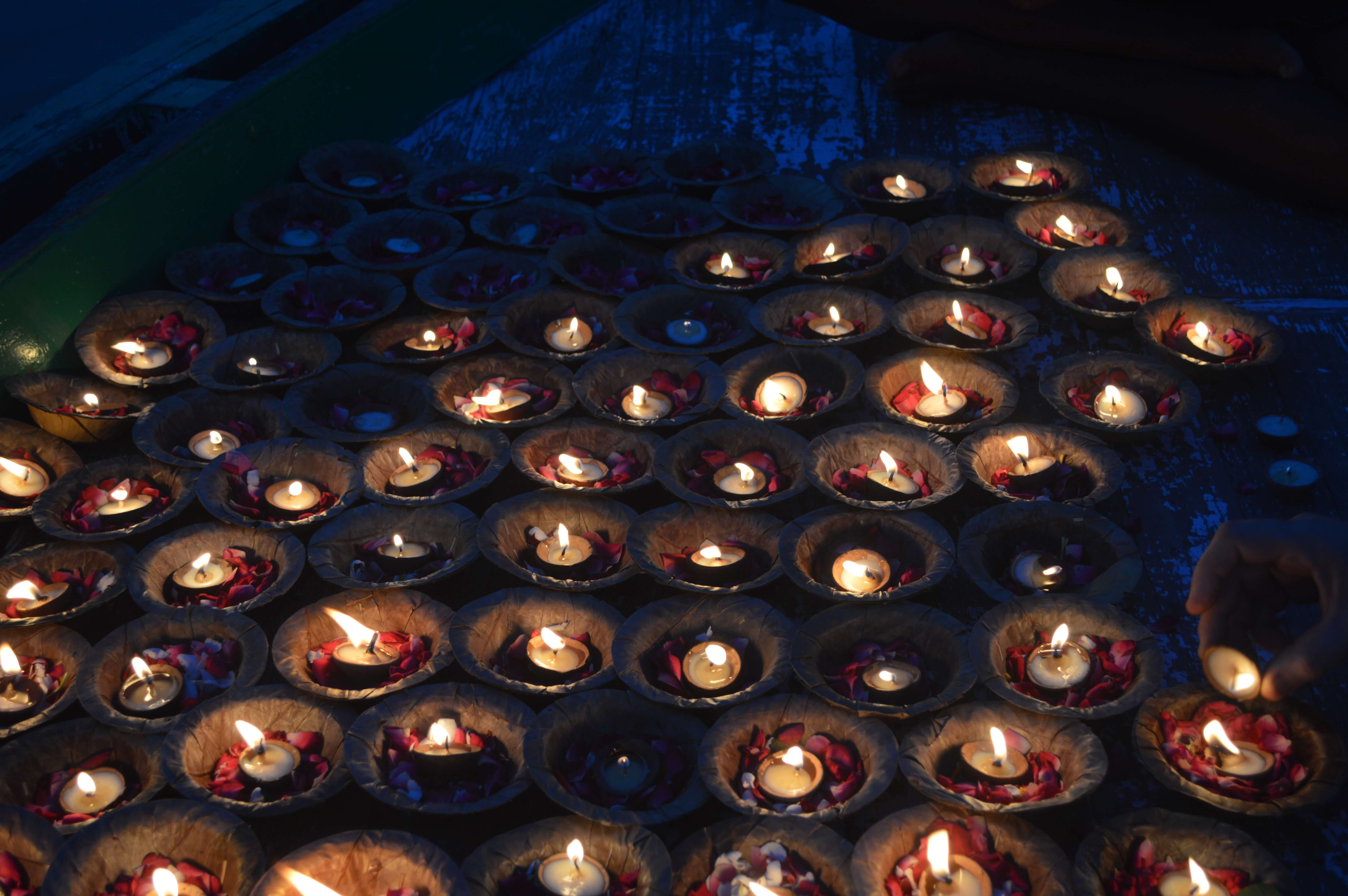 Candles during a Hindu Flower Ceremony