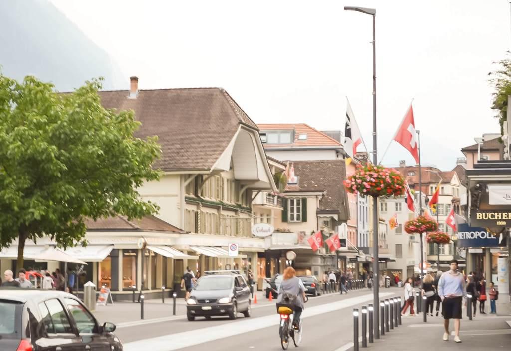 Looking down the street in the centre of Interlaken, Switzerland