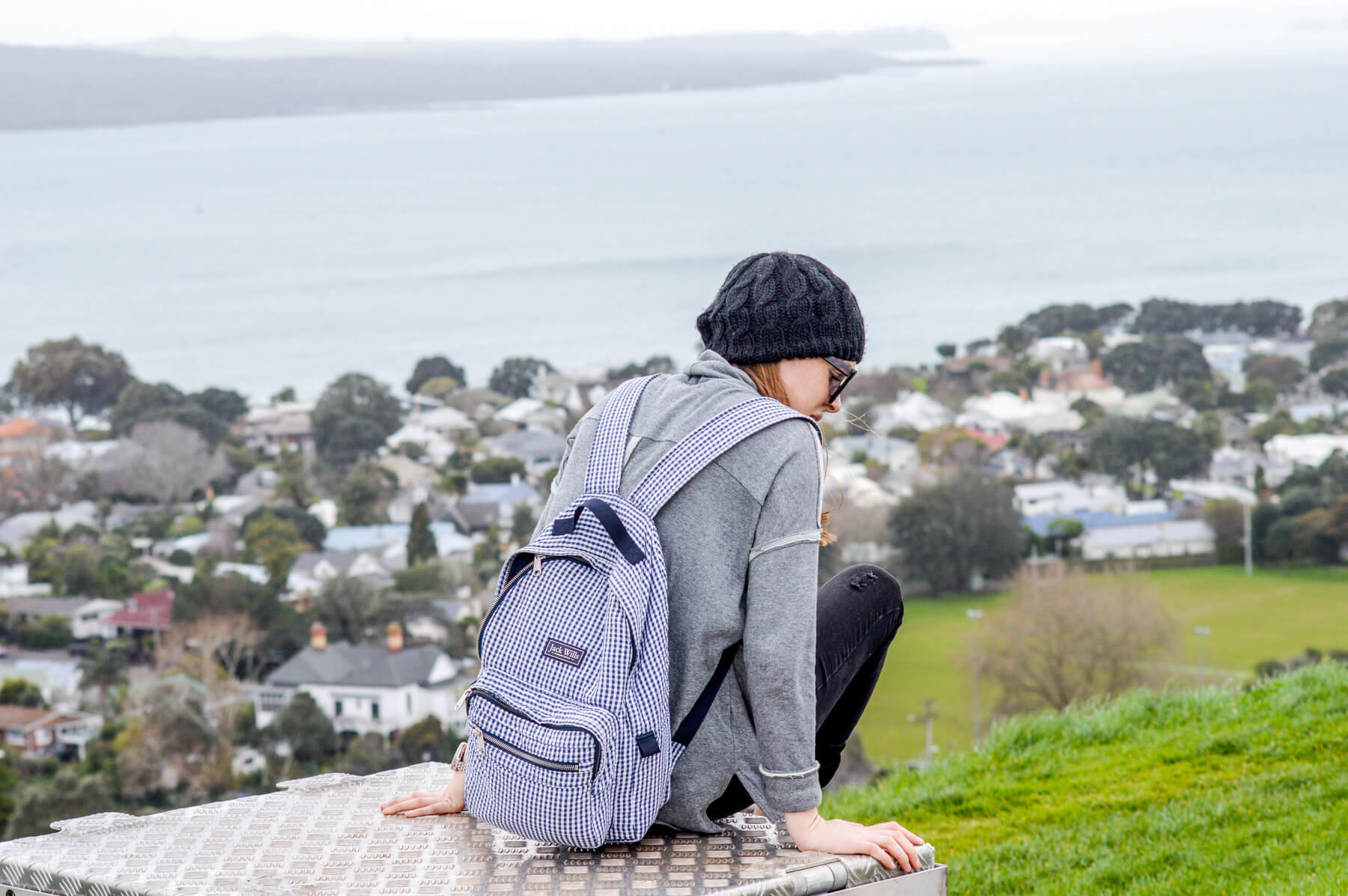 girl on mount victoria NZ