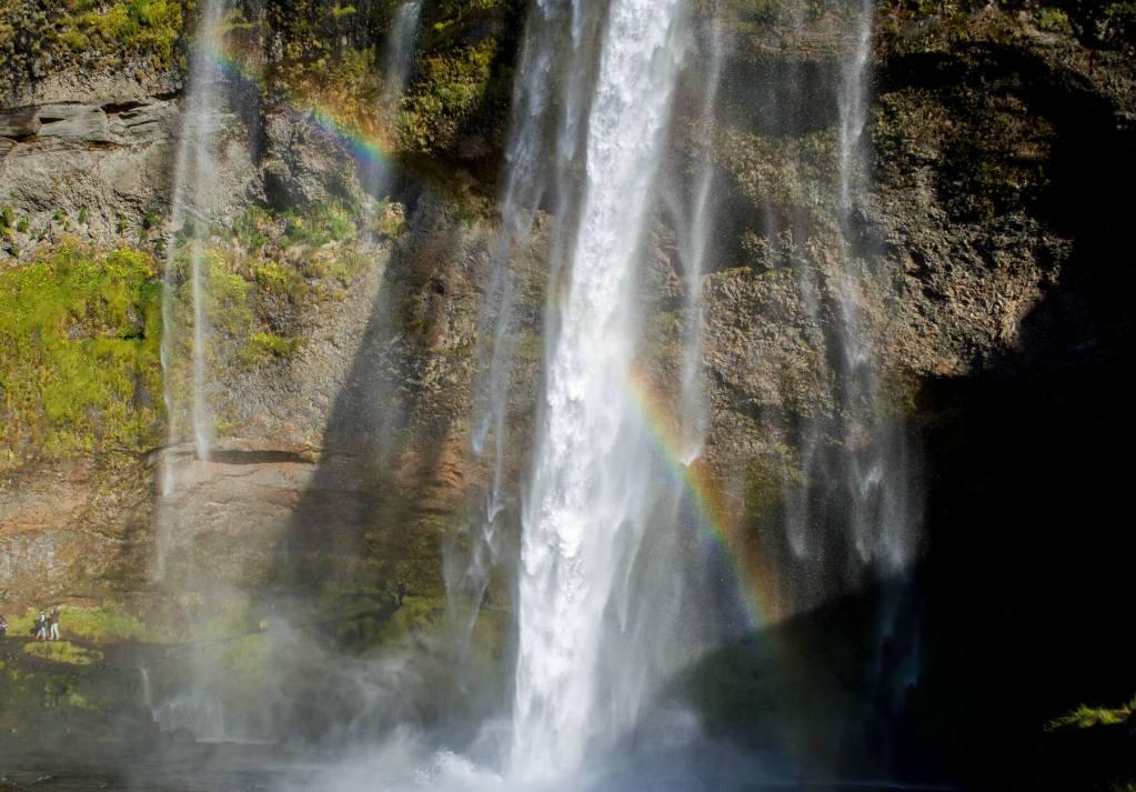 Rainbow in front of Seljalandsfoss waterfall