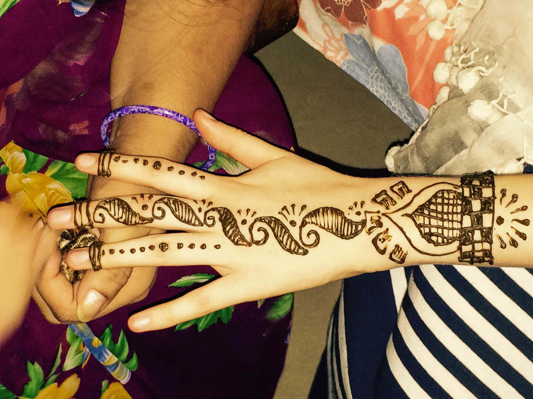 Henna tattoo on a hand in India