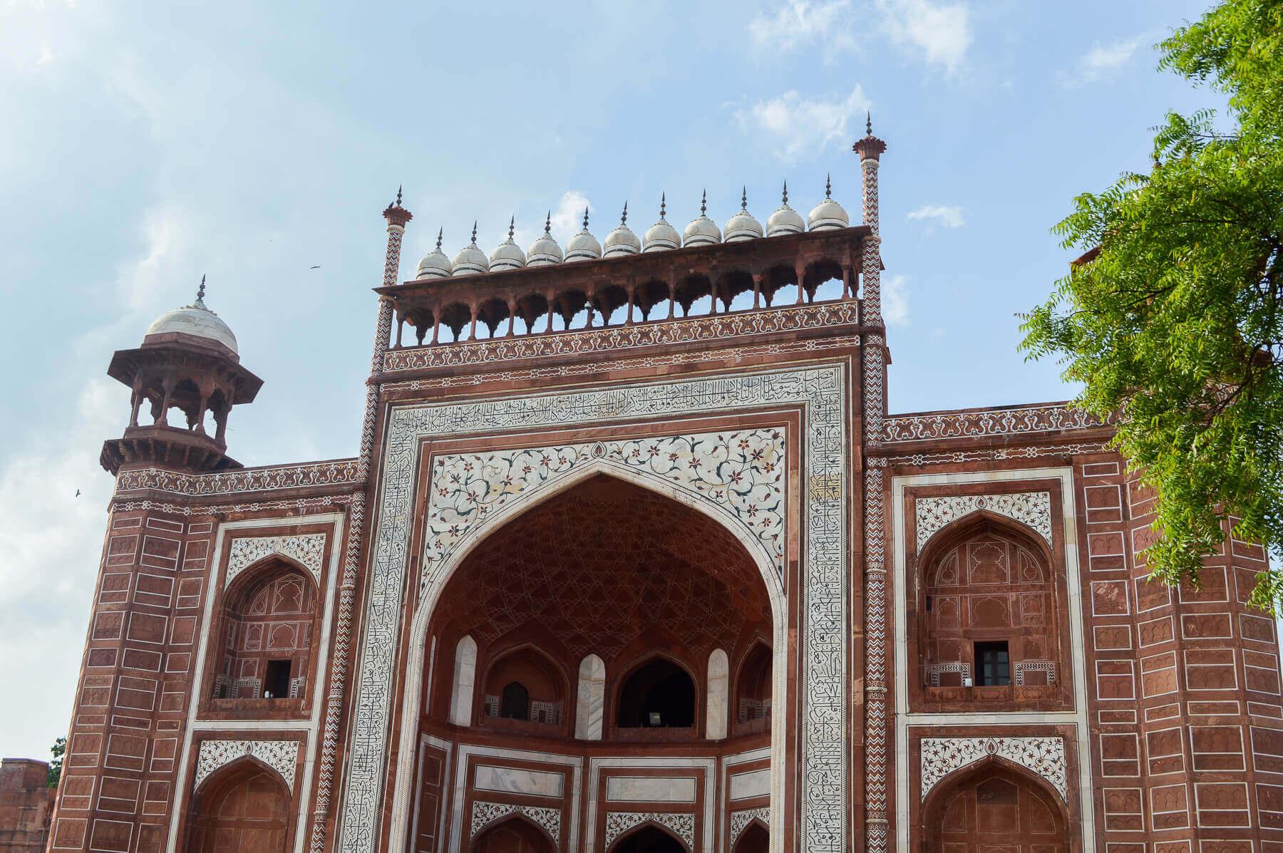 Red stone entrance to Taj Mahal