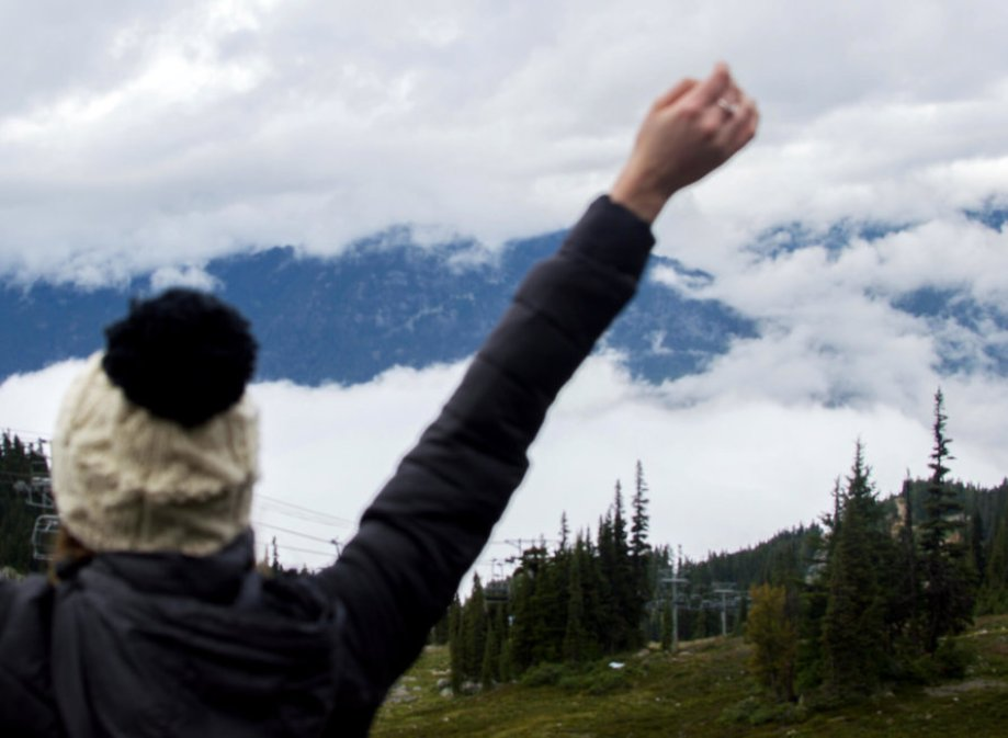 Arms in the air on top of mountain
