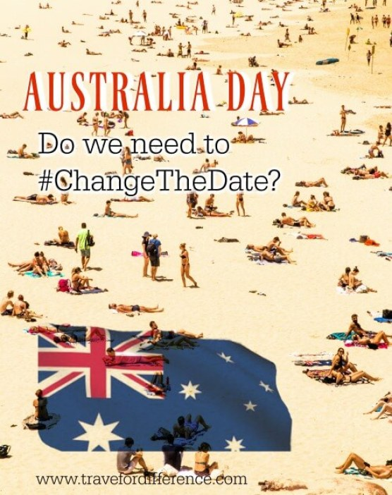 "Crowded beach in Australia with text overlay - ""Australia Day - Do we need to #ChangeTheDate?"""