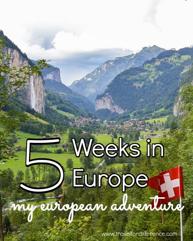 "Looking down the famous Lauterbrunnen Valley in Switzerland with text overlay - ""5 Weeks in Europe - My European Adventure"""