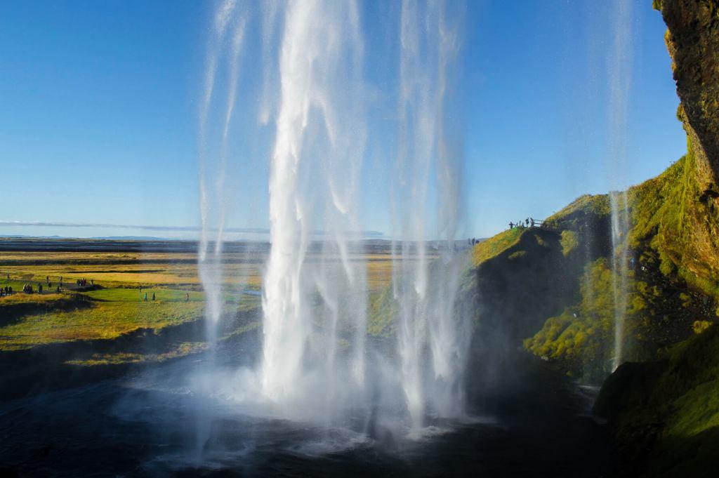 View from below Seljalandsfoss Waterfall, Iceland