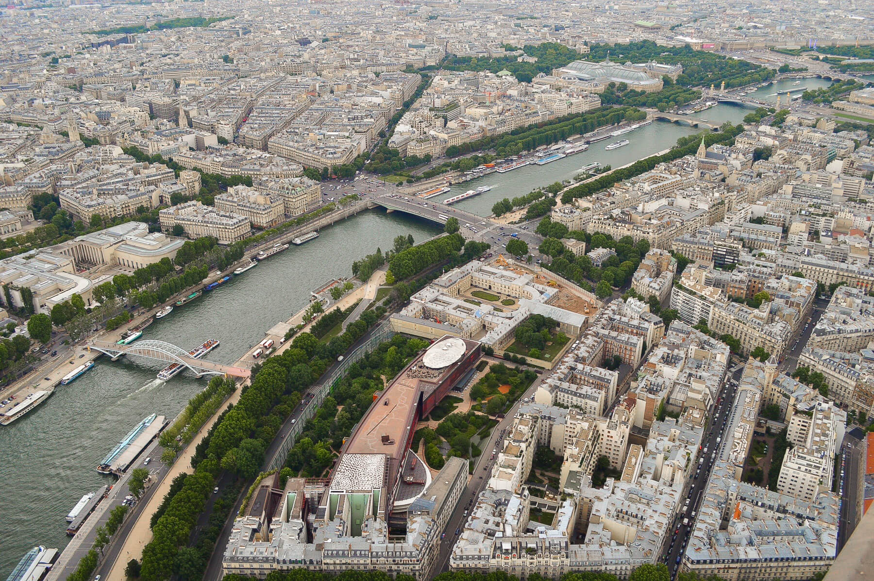 view of paris from onto of Eiffel Tower