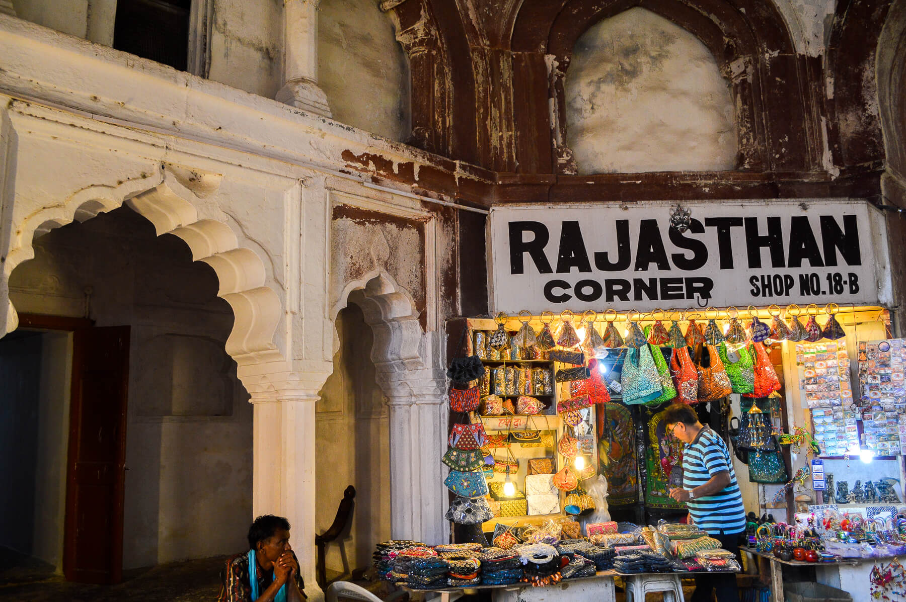 """An Indian craft store with sign """"Rajasthan Corner"""""""