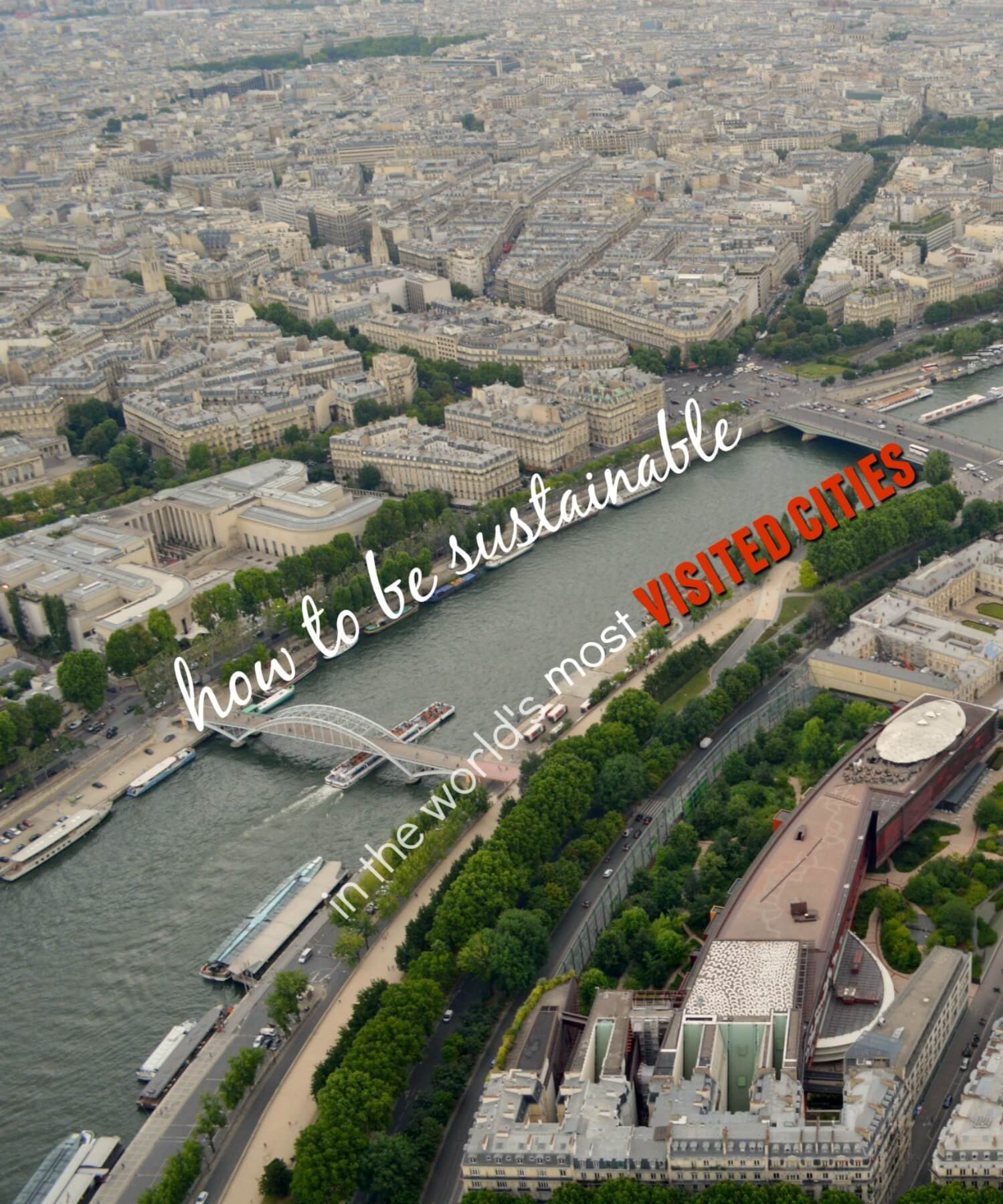 Paris city scape with text - 'How to be sustainable in the world's most visited cities'