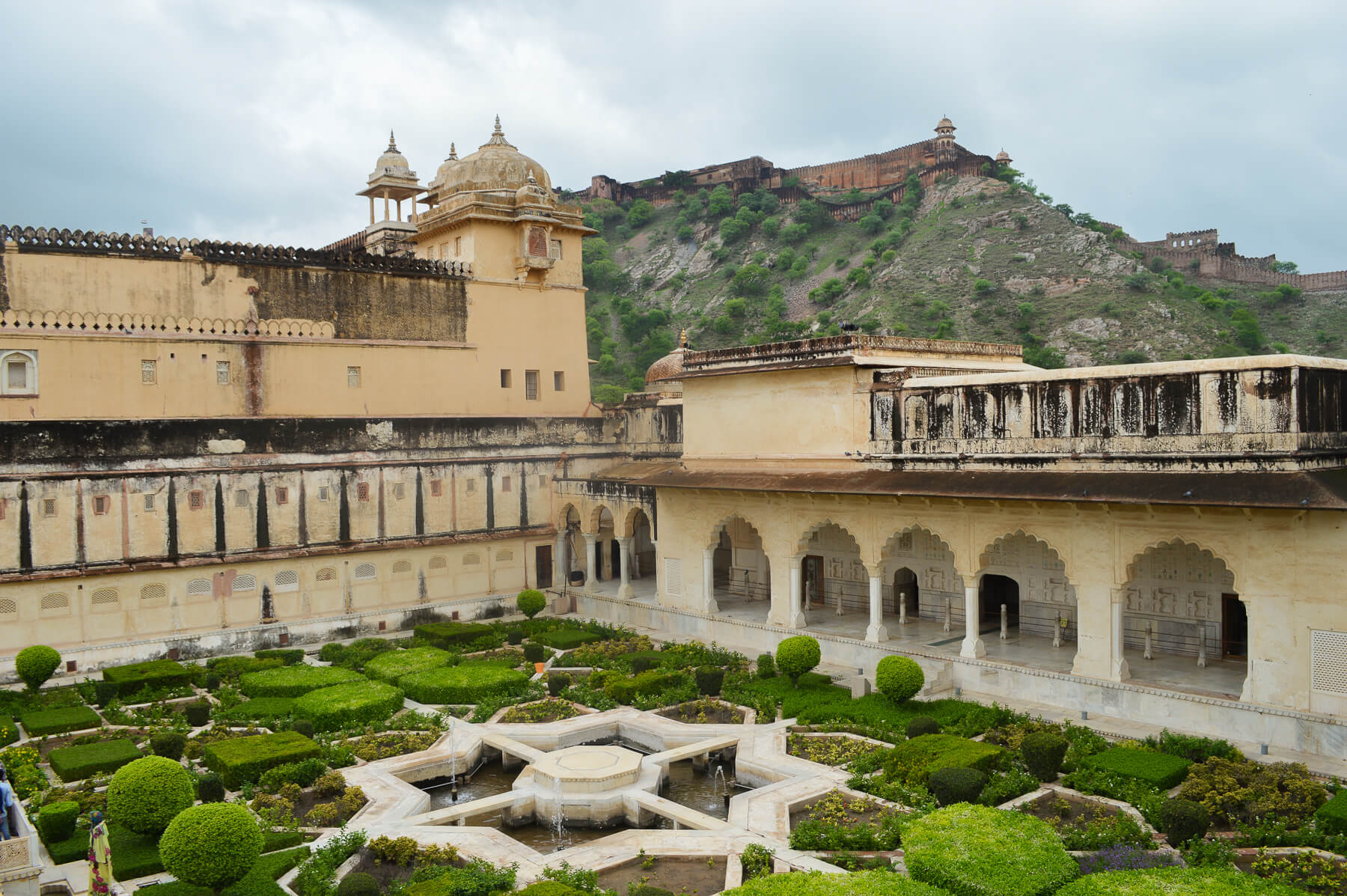A geometric garden on the terrace of a the Amber Fort