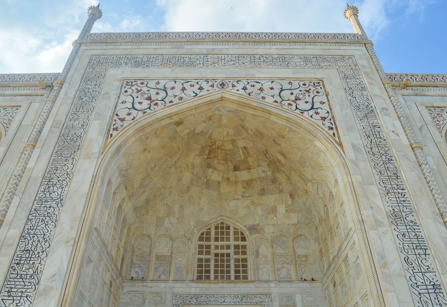 The marble entrance to the Taj Mahal