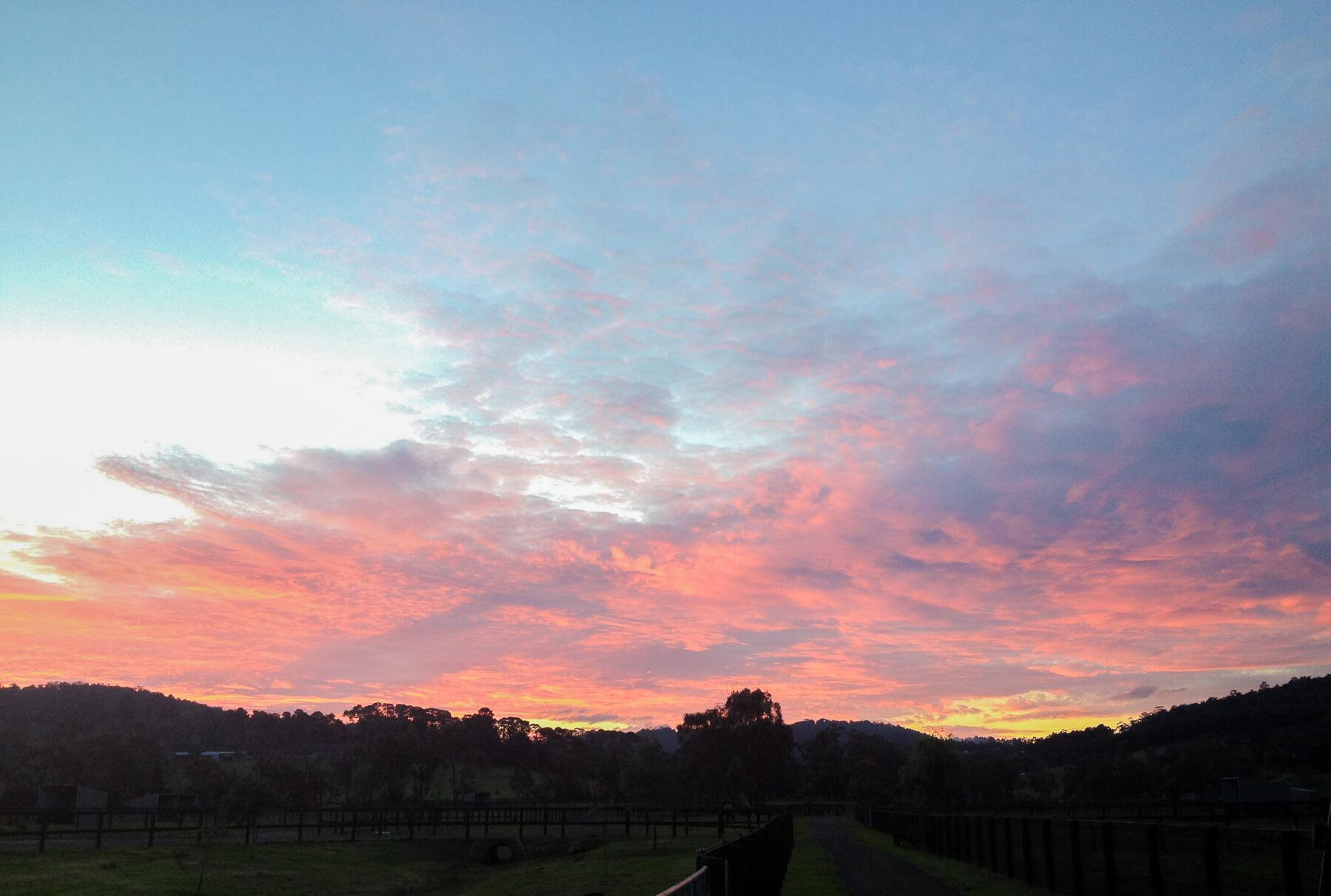 A fairy-floss sky over the countryside