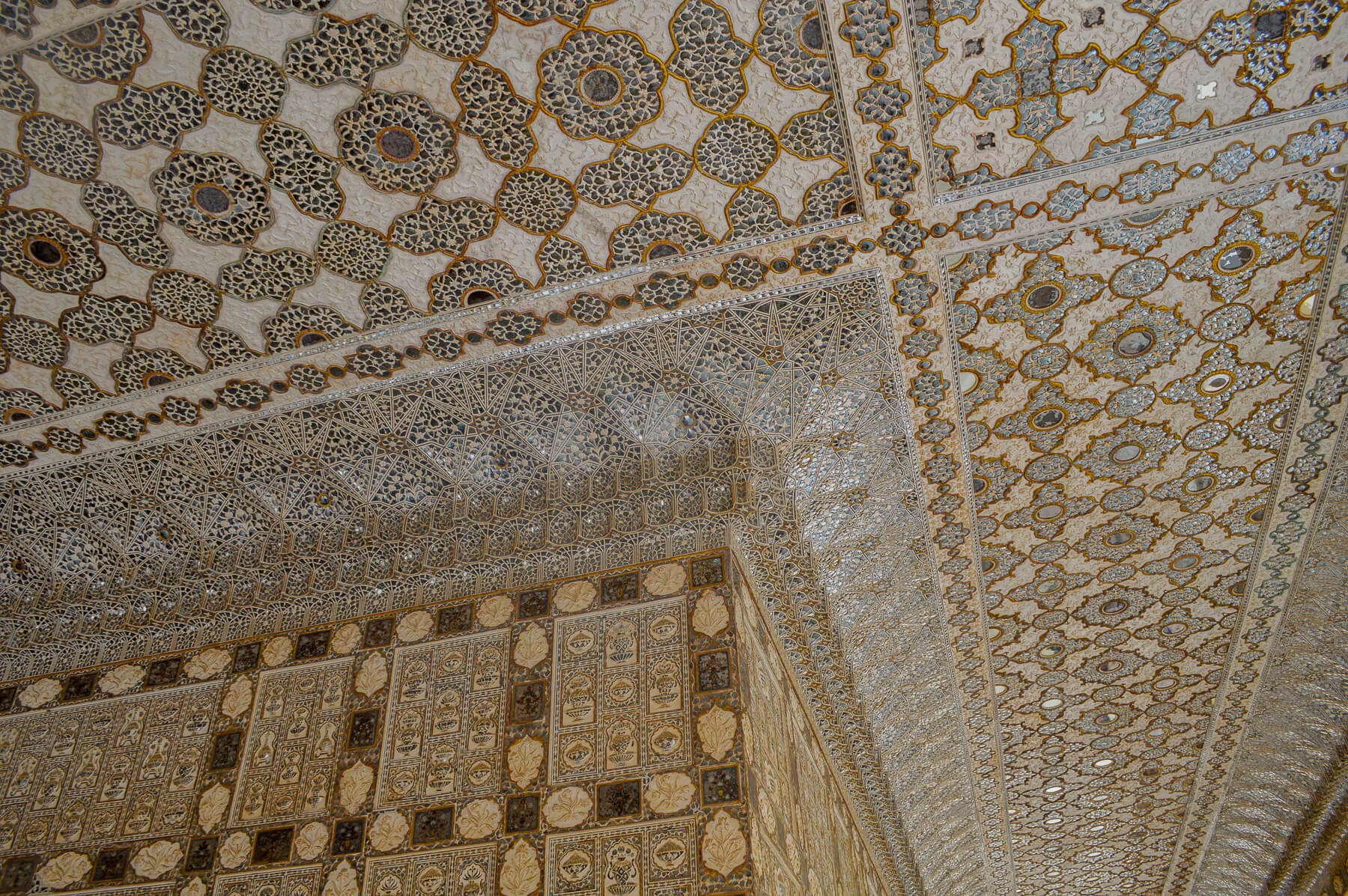 Detailed tile pattern on the ceiling on a Palace