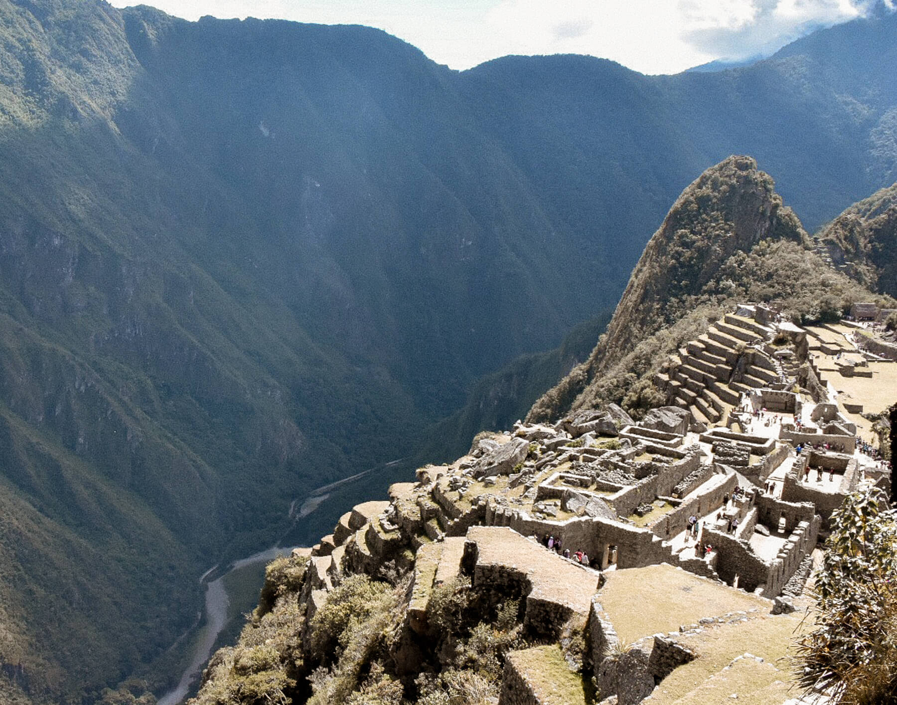 A huge valley that plummets next to Machu Picchu