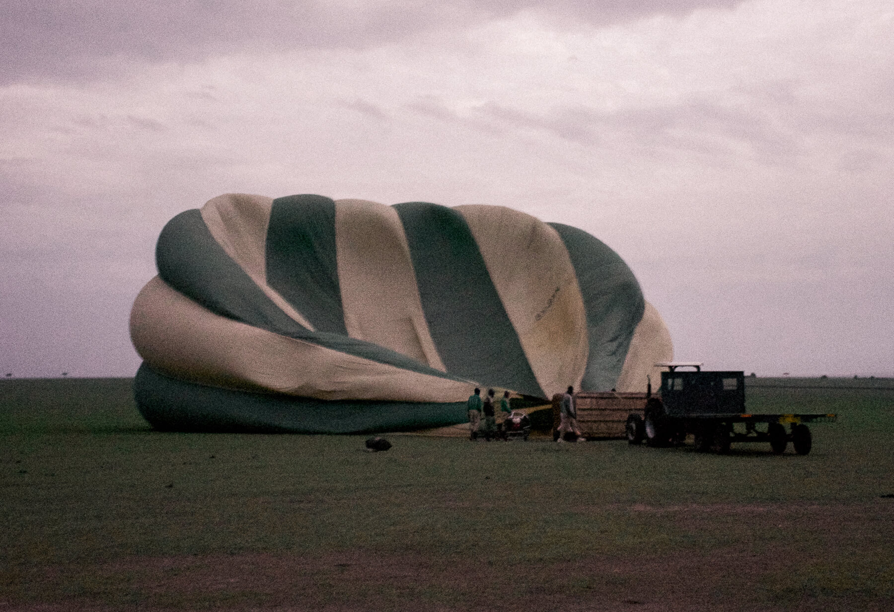 A green striped hot air balloon deflated on the ground