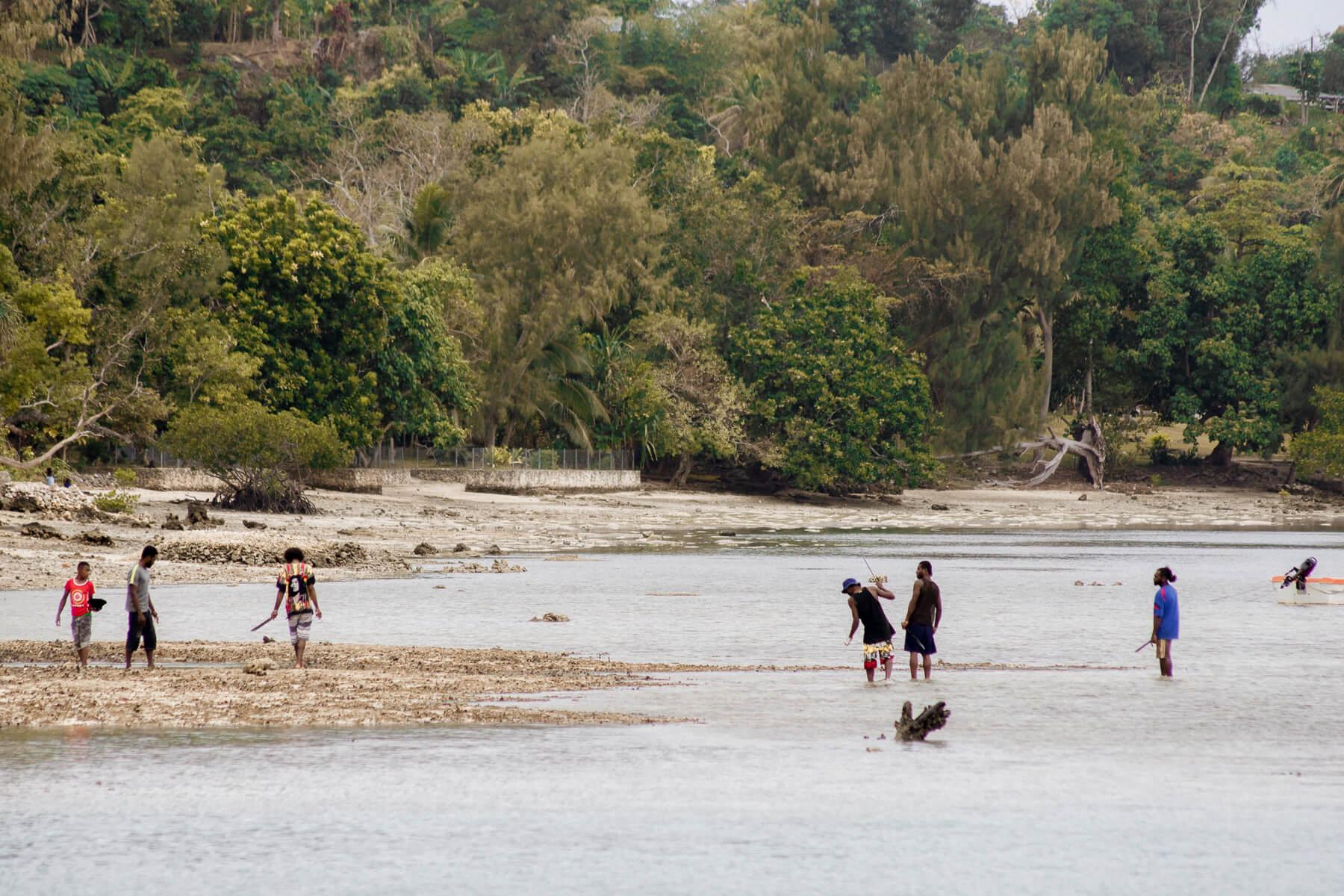 A group of Vanuatu locals enjoying the beach