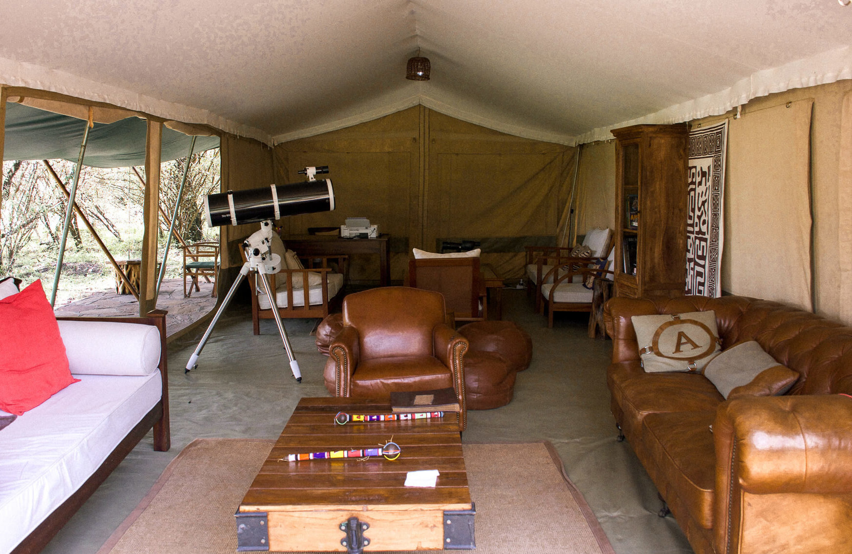 Inside the lounge tent at Losokwan Luxury Tented Camp