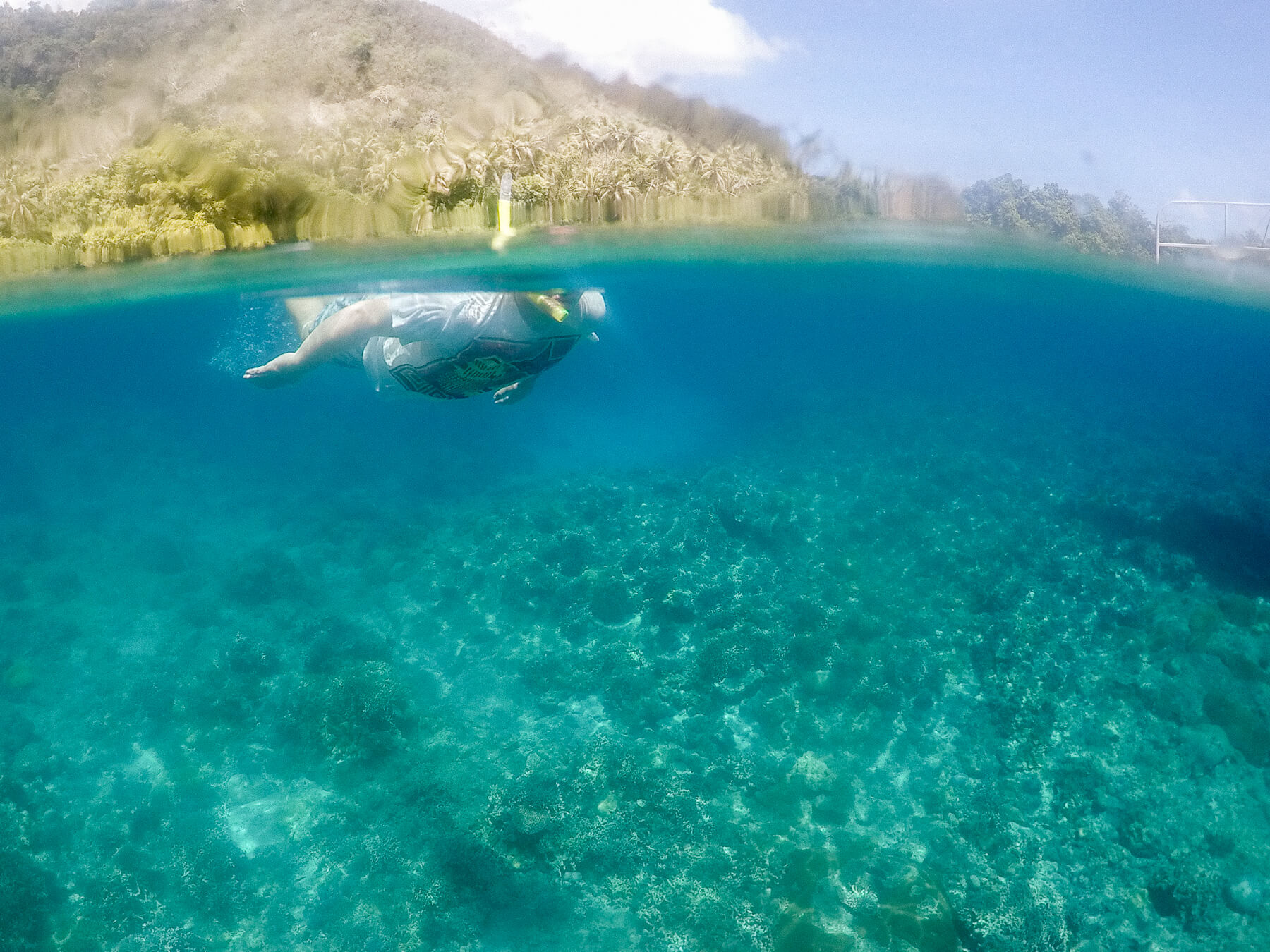 Looking underwater at someone snorkelling, with half of the image seen underwater and the other half above