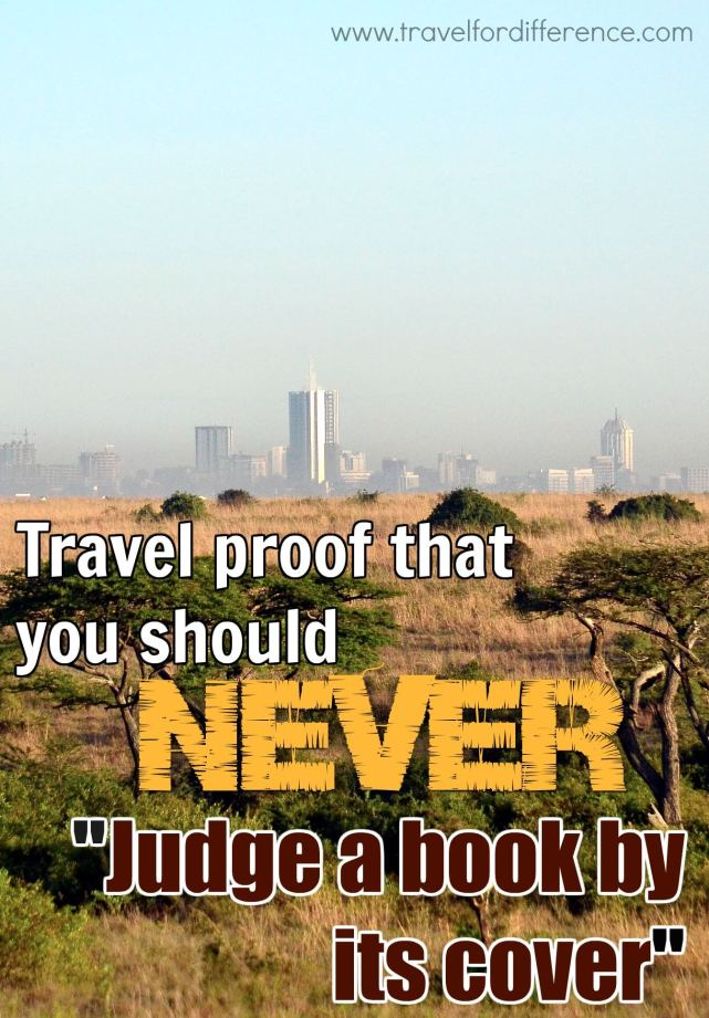 Nairobi skyline with text overlay - Travel Proof to Never Judge a Book by its Cover