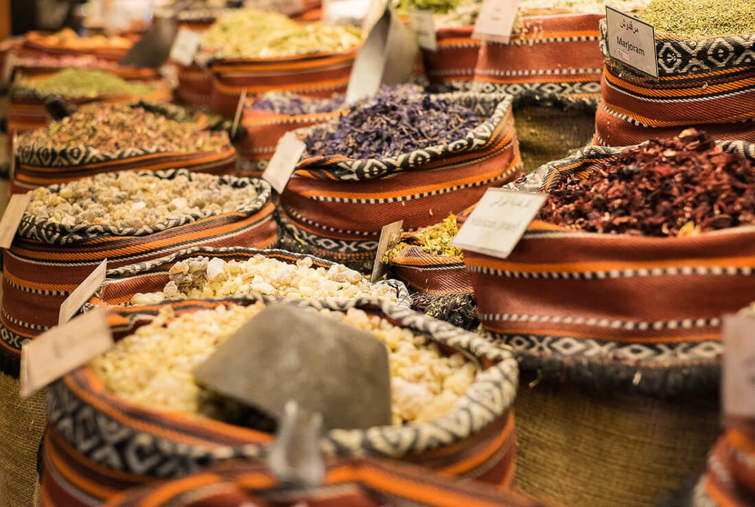 Close up of grains and spices in Abu Dhabi souk
