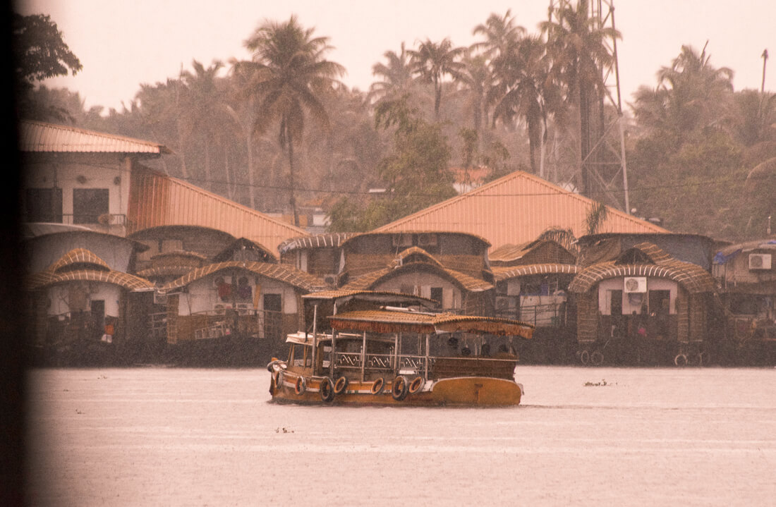 Lots of Alleppey Houseboats parked on the banks of the Alleppey Backwaters