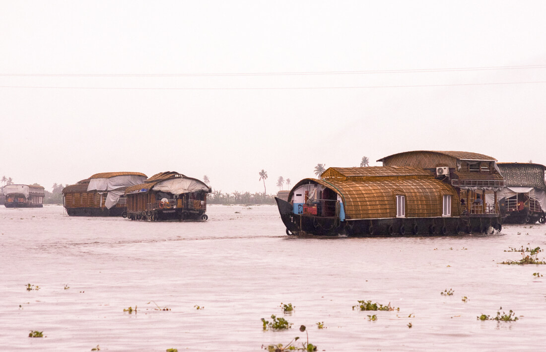 5 traditional Alleppey houseboats cruising along Punnamada Lake in the rain