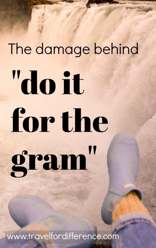 "Legs hanging over a waterfall with text overlay: The damage behind ""Do it for the gram"""