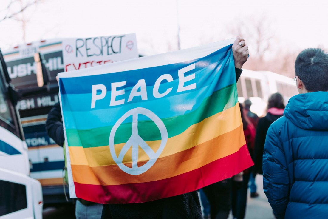 A rainbow peace sign being help up at a protest