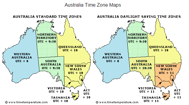 Australia Time Zones Australia Current Time