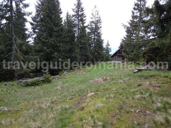 mountain cabin - approaching yellow triangle mark
