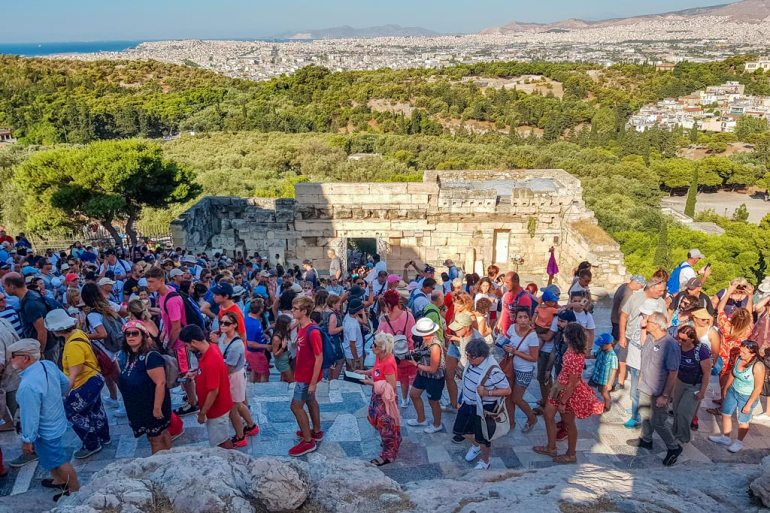 Tourist Crowds at Acropolis of Athens