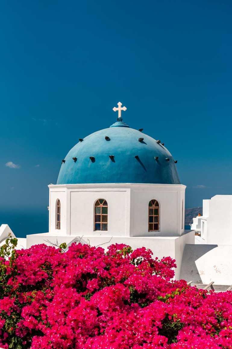 Blue Dome Church Imerovigli Santorini