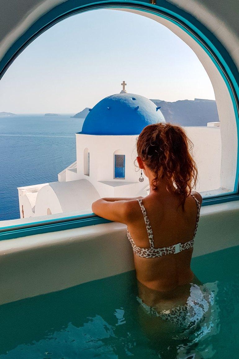 Julia Looking From Villa Window the Best Photography Spots in Santorini