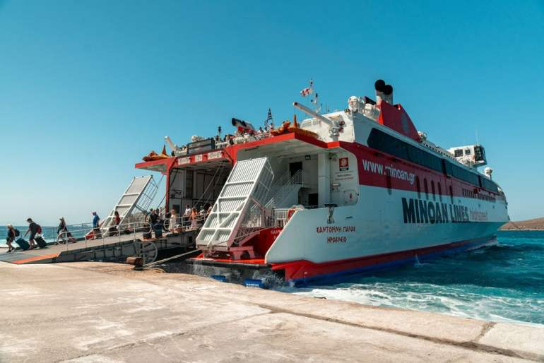 Passanger Ferry Arriving Greek Island Hoping