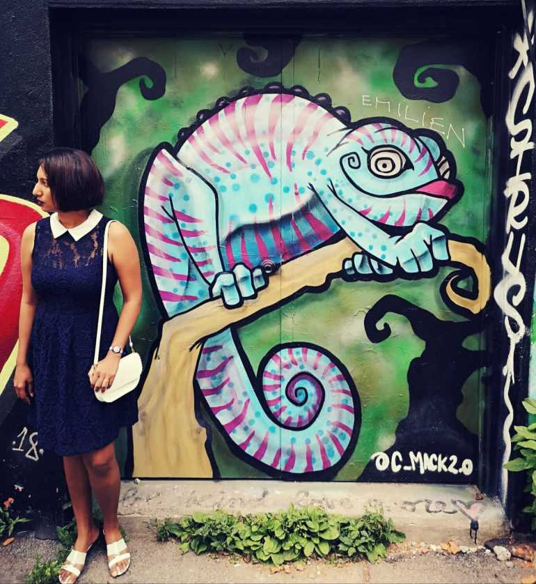 The Chameleon Mural in Graffiti Alley Toronto