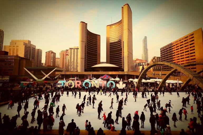 Skating At Nathan Philips Square