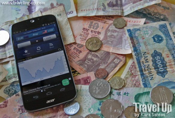 smartphone currency converter app and foreign currency