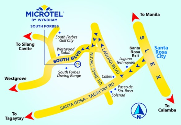 Microtel South Forbes near Nuvali Sta. Rosa map