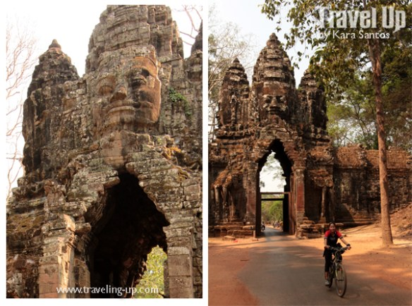 biking cambodia angkor archaeological park angkor thom gate faces