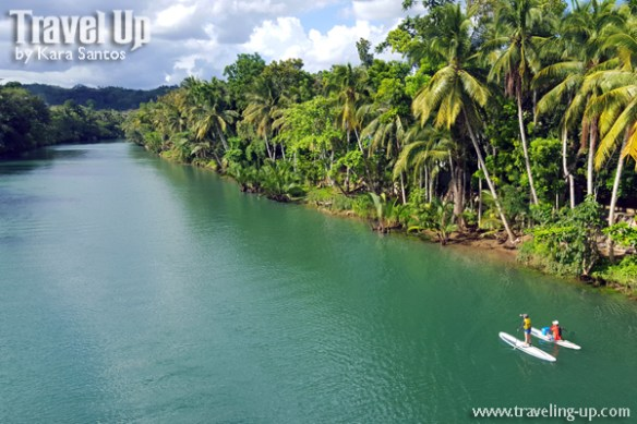 bohol by motorcycle loboc river SUP stand-up paddleboard