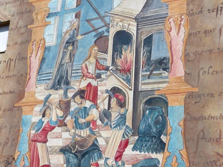 fresque représentant le travail du cuir