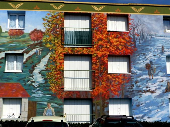 fresque représentant les champs en automne et en hiver