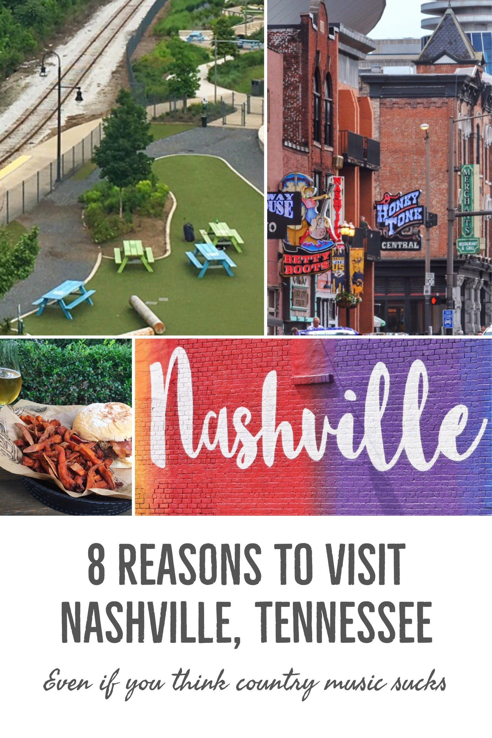 Here are 8 reasons you need to visit Nashville, Tennessee even if you think country music sucks. Music city is great for live music, food, wine, culture, and more. It's so much more than bachelorette parties and country music!