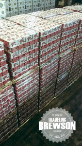 Pallets on top of pallets of beer.