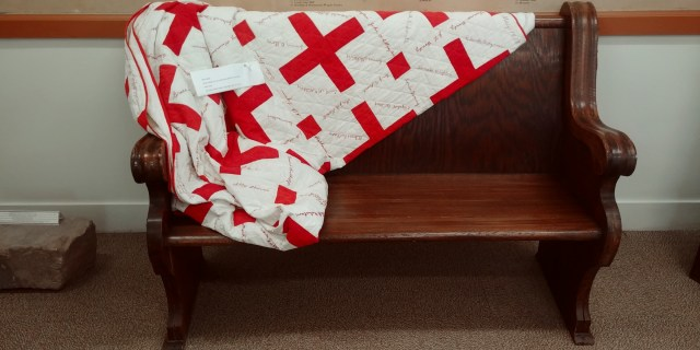 WWII quilt from the Red Crss at the Wapello County Historical Museum