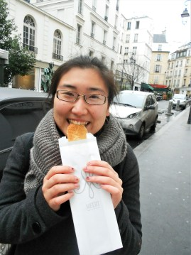 Author eating a gaufre from Meert in Paris.